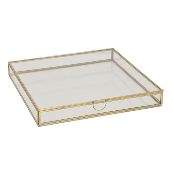 Opbergbox Glas Messing Tint Vierkant Laag Model 31x31x5cm Goud, Transparant