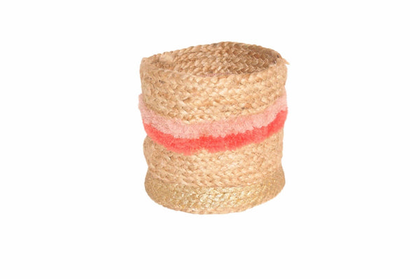 Jute Basket Large Naturel/paars