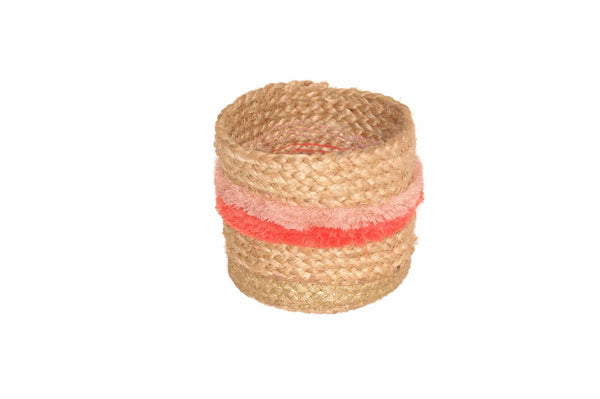 Jute Basket Medium Naturel/paars
