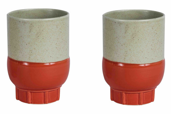 Two Colour Cups Naturel/rood