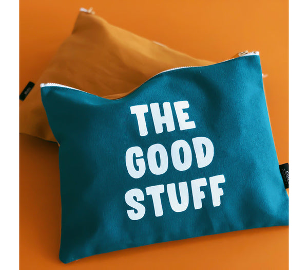 Canvas Bag The Good Stuff, Per 5 Pieces  Petrol/oker 29,7 x 21 cm