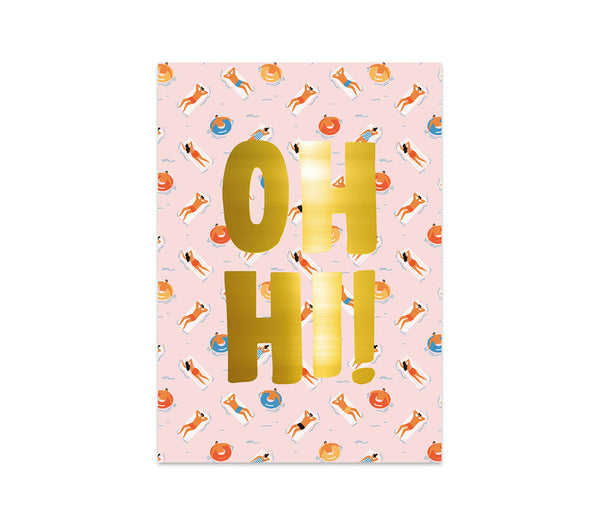 Greeting Card Oh Hi! Gold. Per 5 Pieces