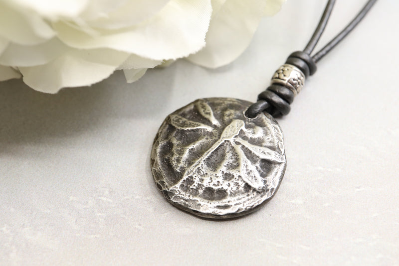 Pewter Dragonfly Pendant on Leather