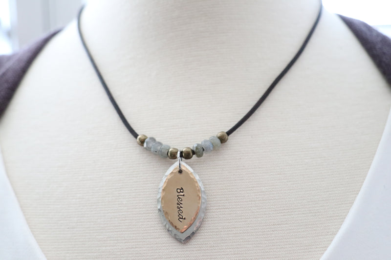 Two Tone Word of Inspiration Necklace