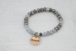 Two Tone Crystal Word Bracelet