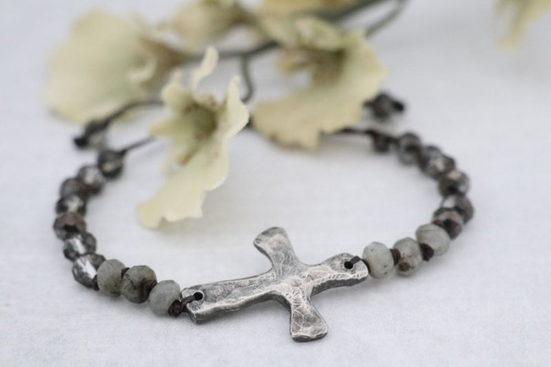 Beautiful Cast Pewter Cross with Labradorite & Crystal