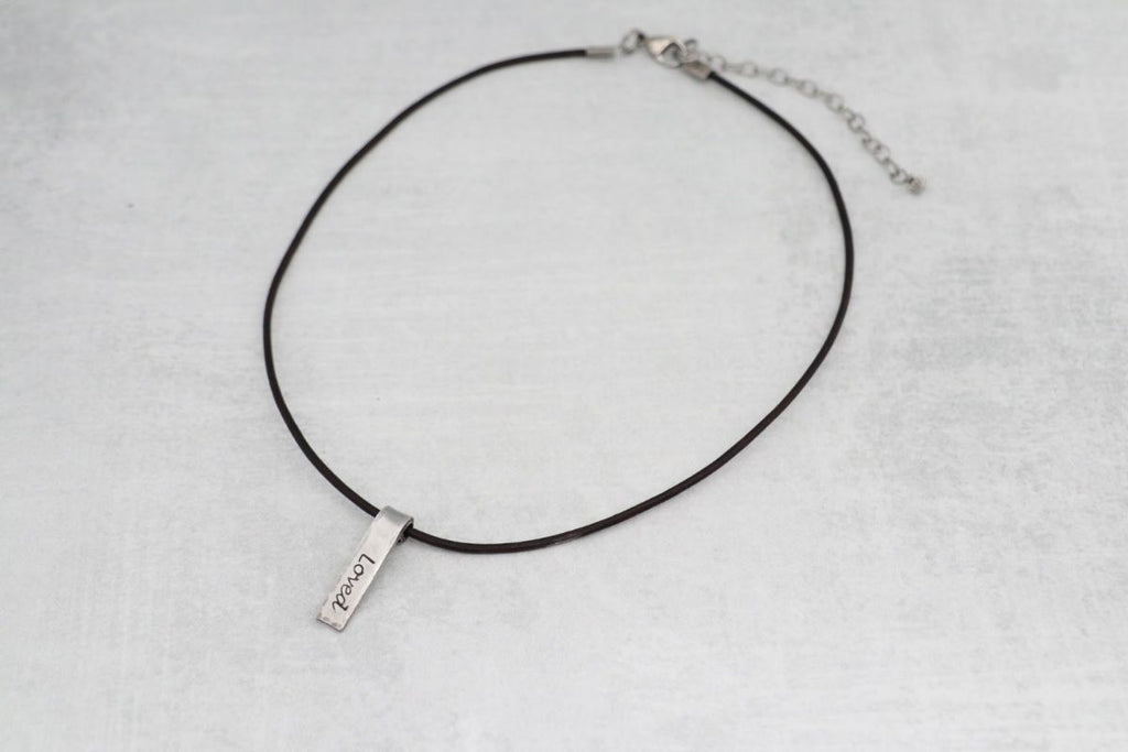 Hand Stamped Word Necklace (Bar)