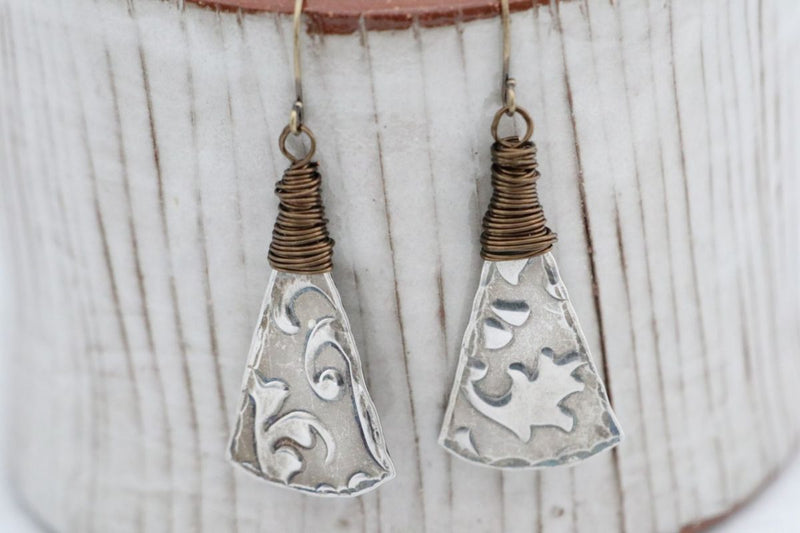 Wire Wrapped Textured Pewter Earrings