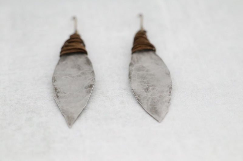 Striking Wire Wrapped Pewter Earrings