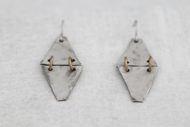 Hinged Pewter Triangle Earrings