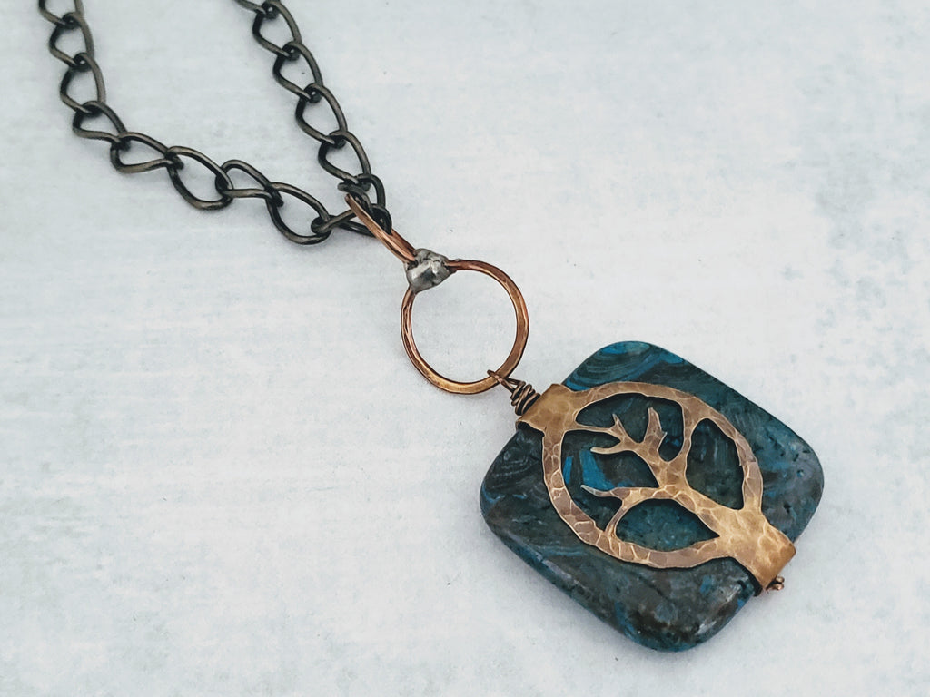 Hand Cut Bronze Tree Stone Wrap-Jasper