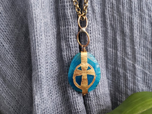 Hand Cut Bronze Cross Stone Wrap - Agate