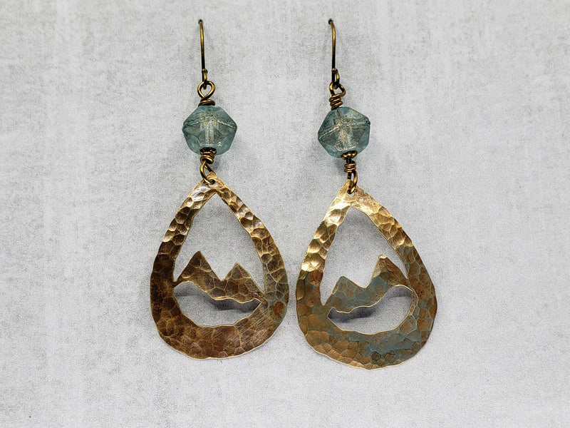Hand Cut Bronze Mountain Earrings
