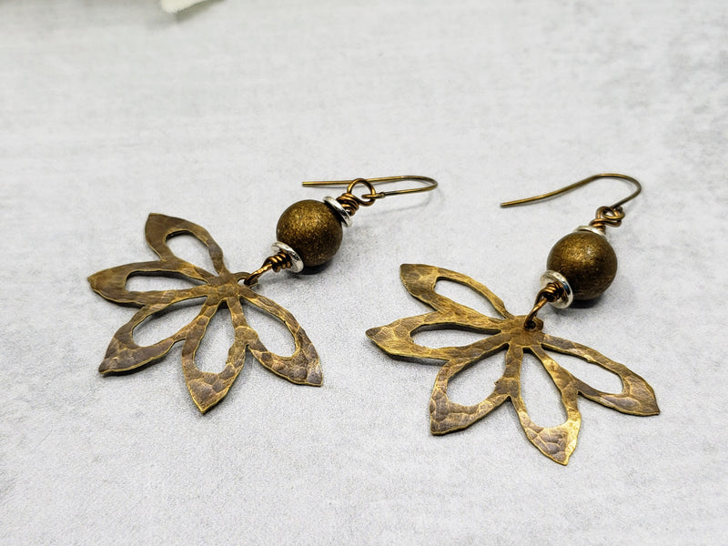 Hand Cut Bronze Flower Earrings