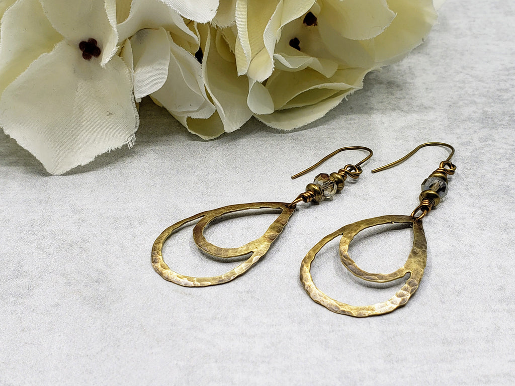 Hand Cut Double Drop Bronze Earrings