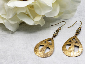 Hand Cut Bronze Cross Earrings