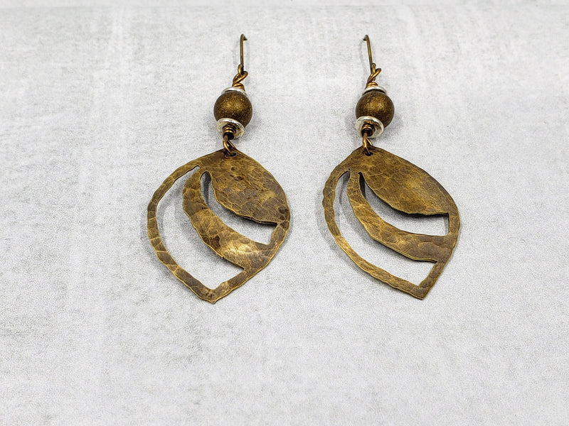 Hand Cut Bronze Swoop Earrings