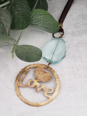 Hand Cut Bronze Love Pendant