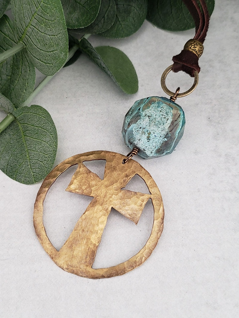 Hand Cut Bronze Cross Pendant
