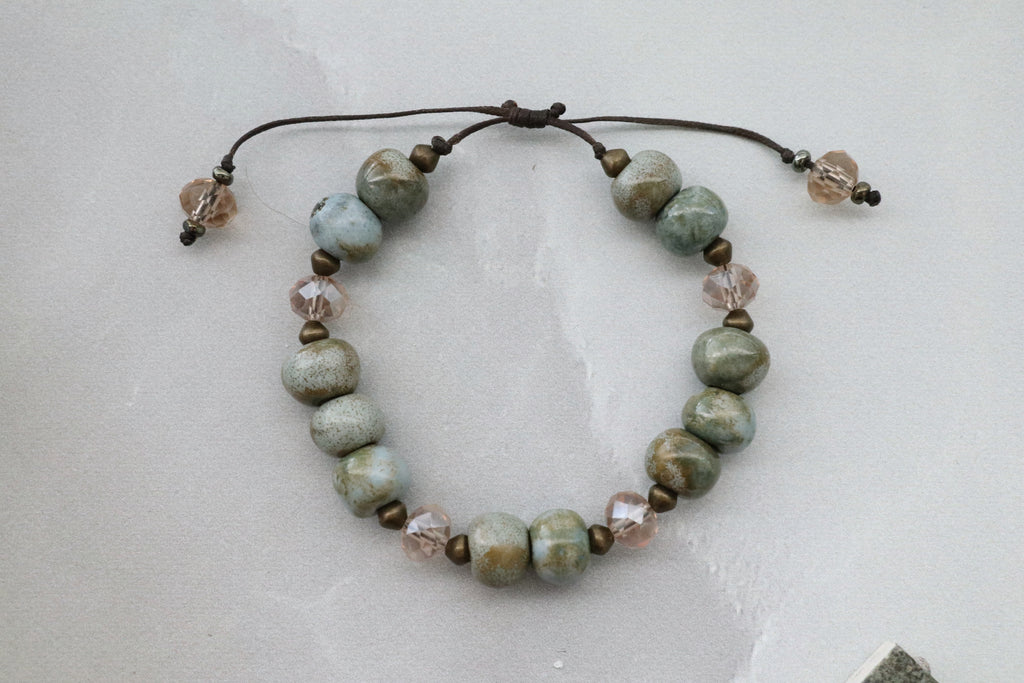 Ceramic Bead & Crystal Bracelet (Sea Moss)