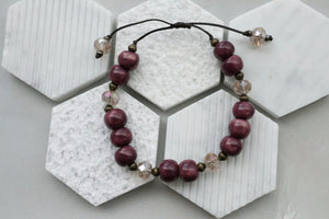 Ceramic Bead & Crystal Bracelet (Plum)