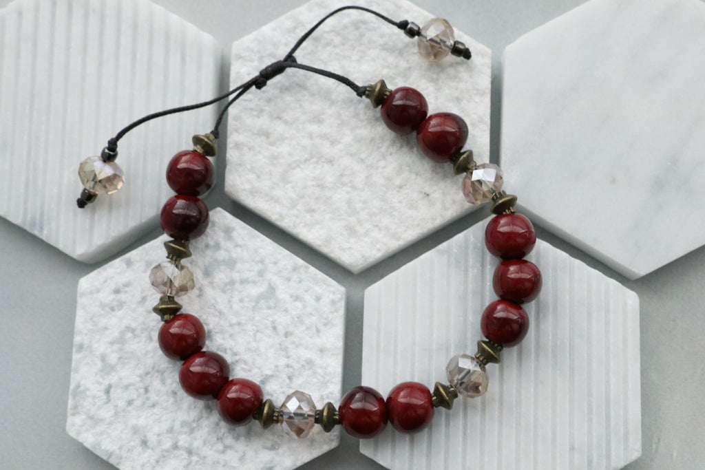 Ceramic Bead & Crystal Bracelet (Deep Red)