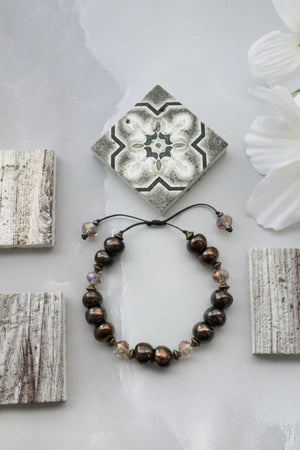 Ceramic Bead & Crystal Bracelet (Bronze)
