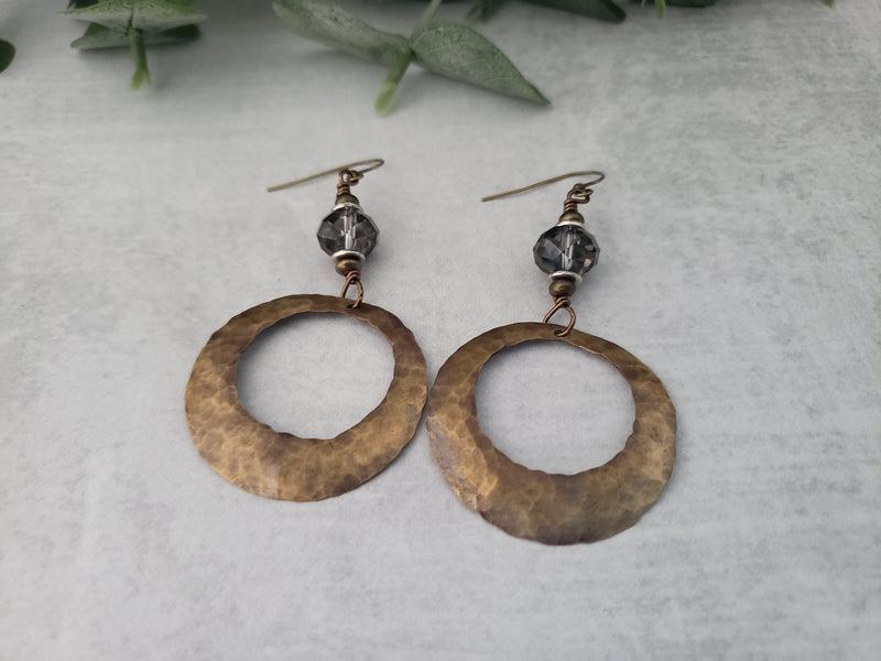 Hand Cut Bronze Circle Earrings