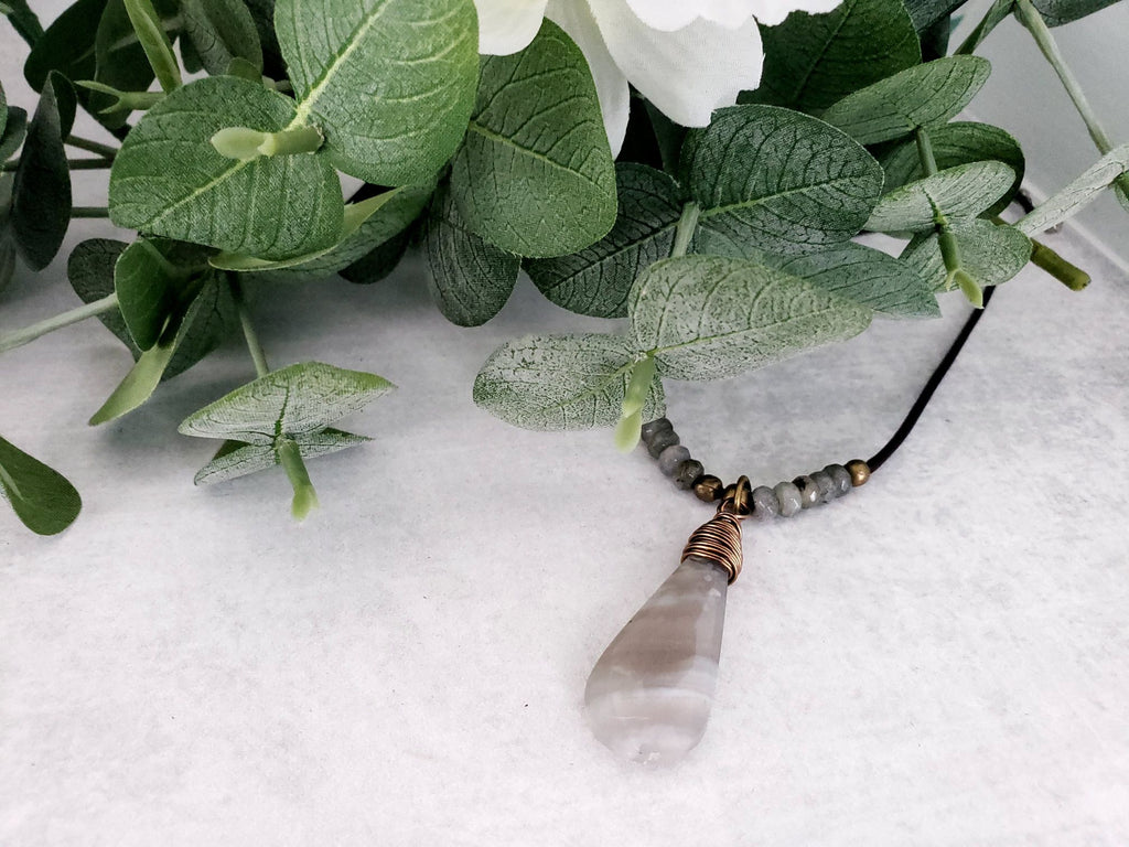 Stunning Wire Wrapped Boulder Opal Necklace
