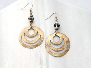 Hand Cut Bronze Loop d'Loop Earrings
