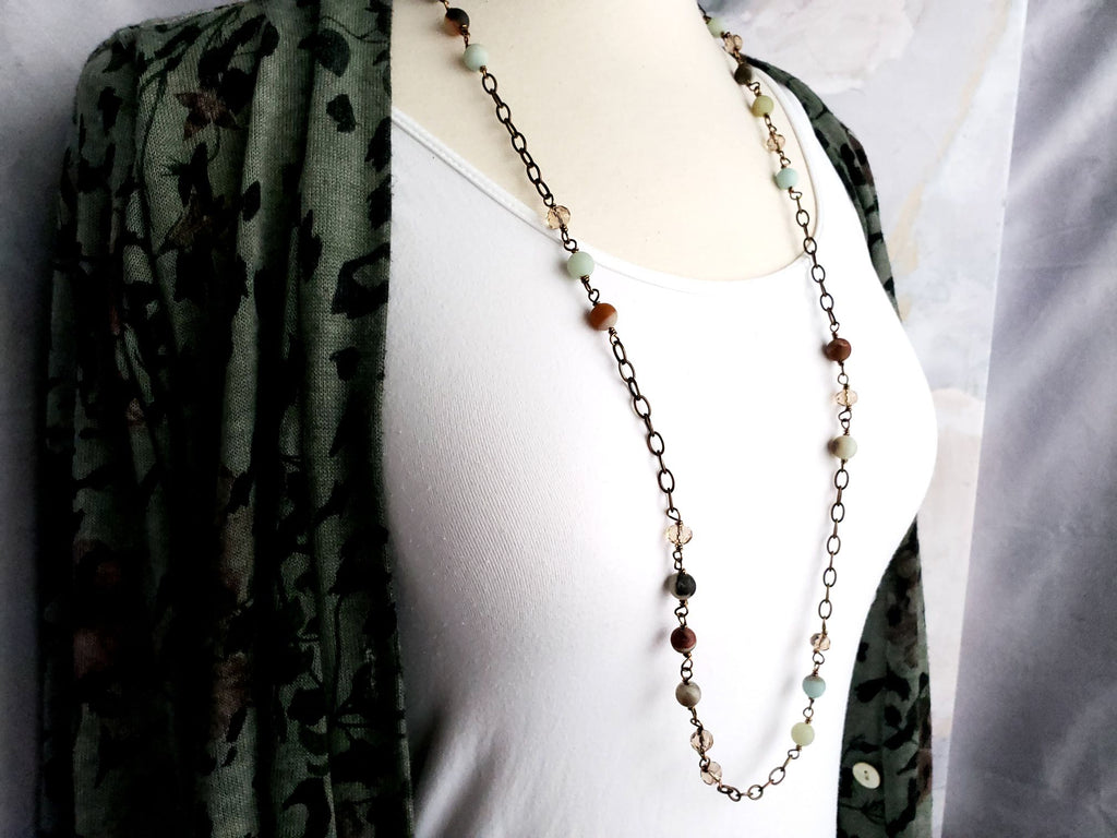 Amazonite & Crystal Bronze Chain
