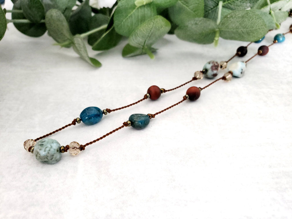 Gorgeous Larimar, Red Jasper & Apatite Necklace