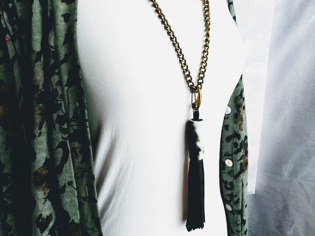 Beautiful Cowhide and Deerskin Tassel on Heavy Chain