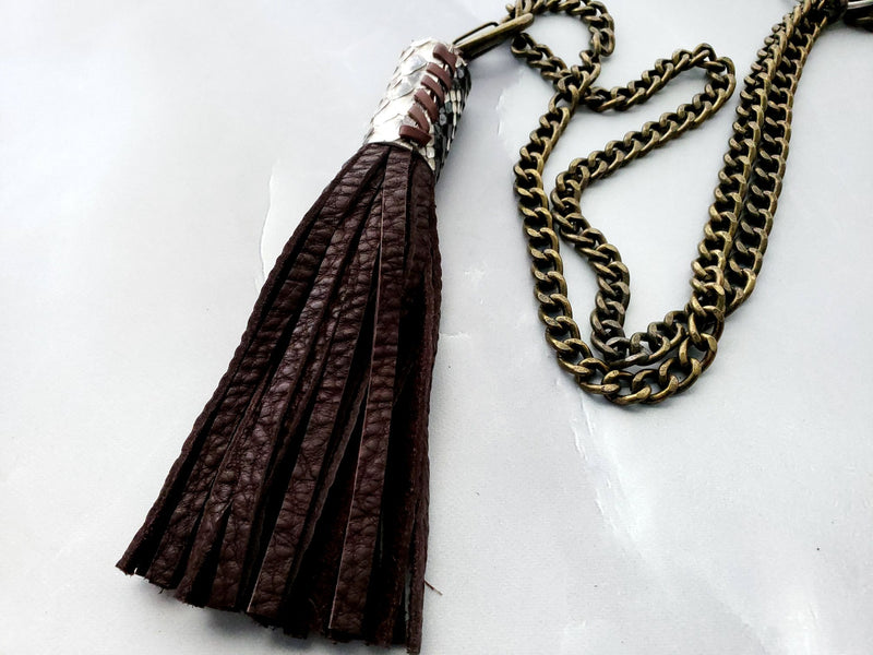 GORGEOUS Snakeskin & Buffalo Tassel on Heavy Chain