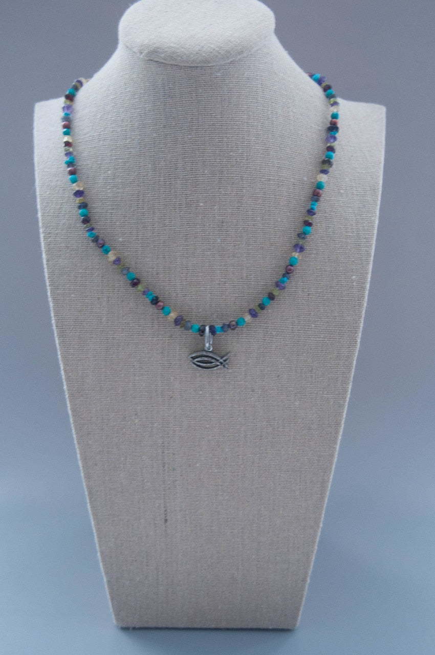 Semi-precious Gemstone CBS Logo Necklace
