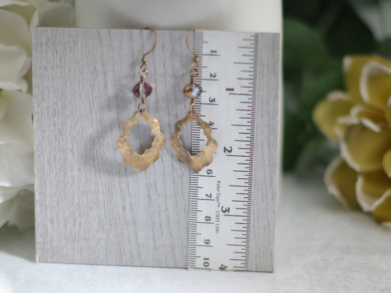Scalloped Bronze & Crystal Earrings