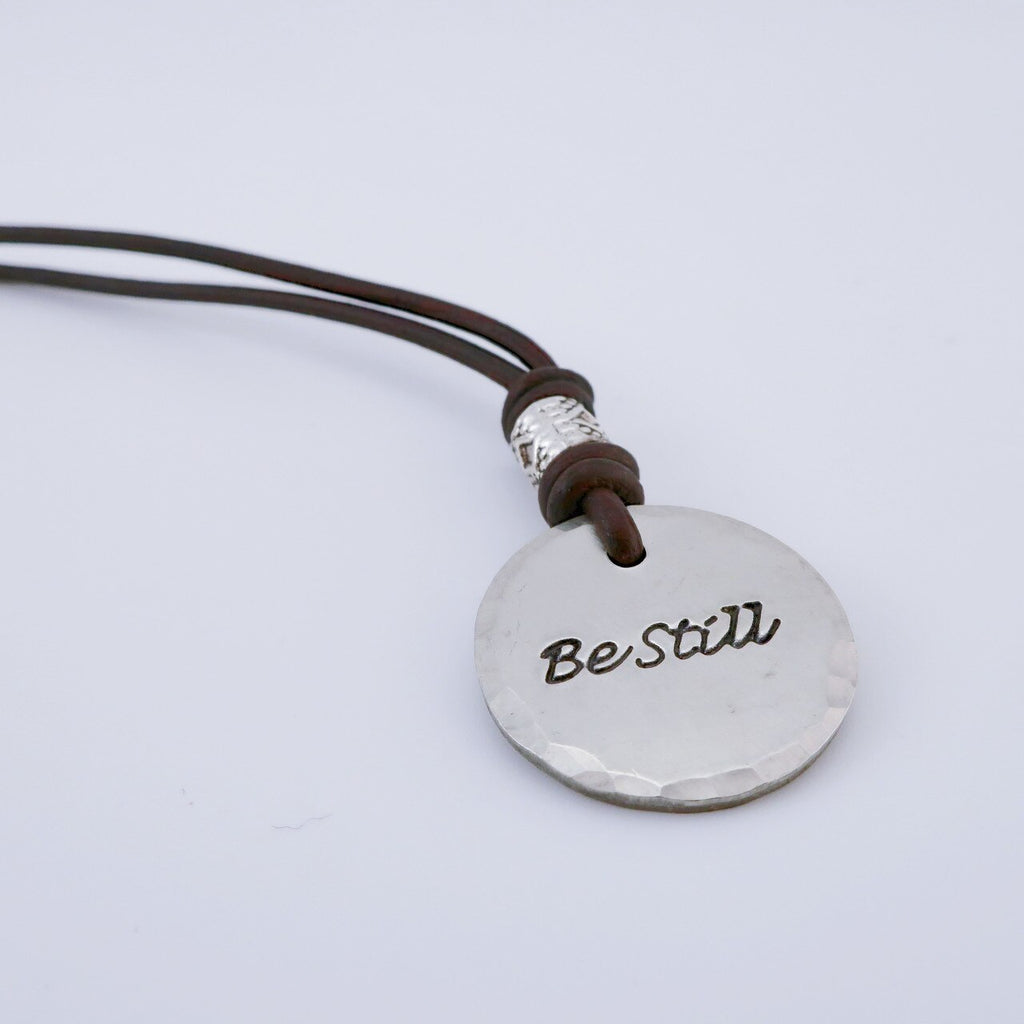 Hand Stamped Word Necklace (Circle)
