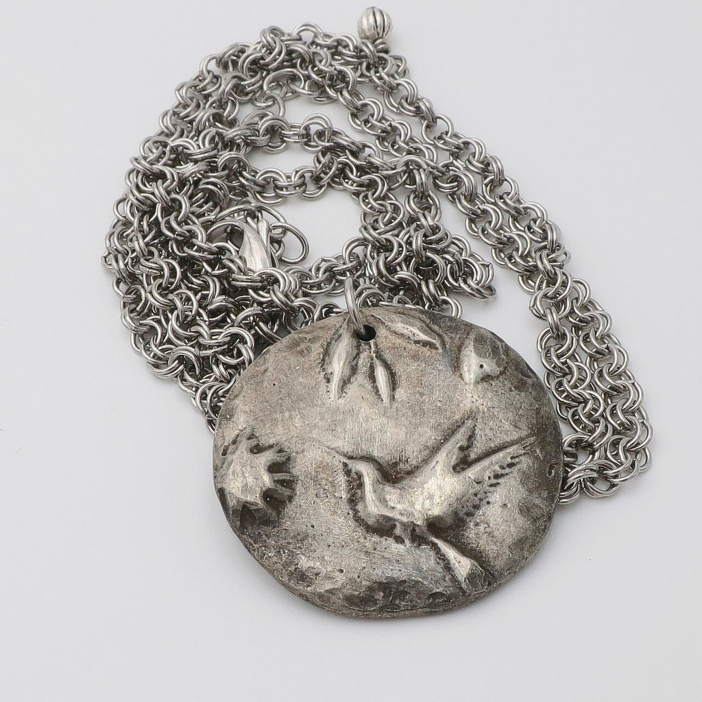 Cast Pewter Hummingbird on Long Chain