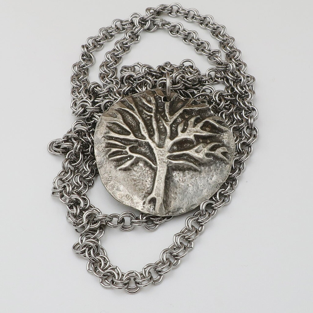 Cast Pewter Tree Pendant on Long Chain