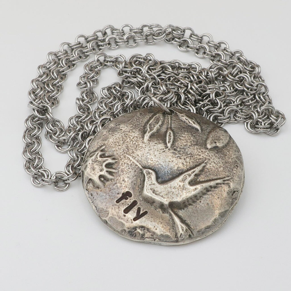 Fly! Cast Pewter Hummingbird on a Long Chain