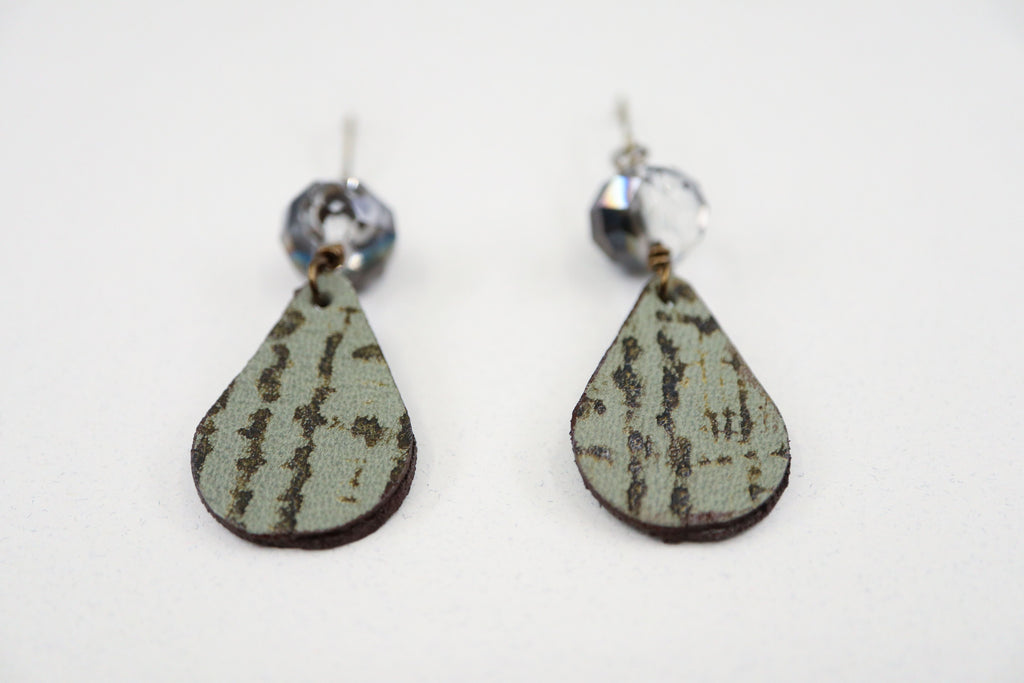 Olive Green & Brown Leather & Crystal Earrings