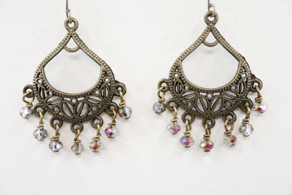Bronze Chandelier Crystal Earrings