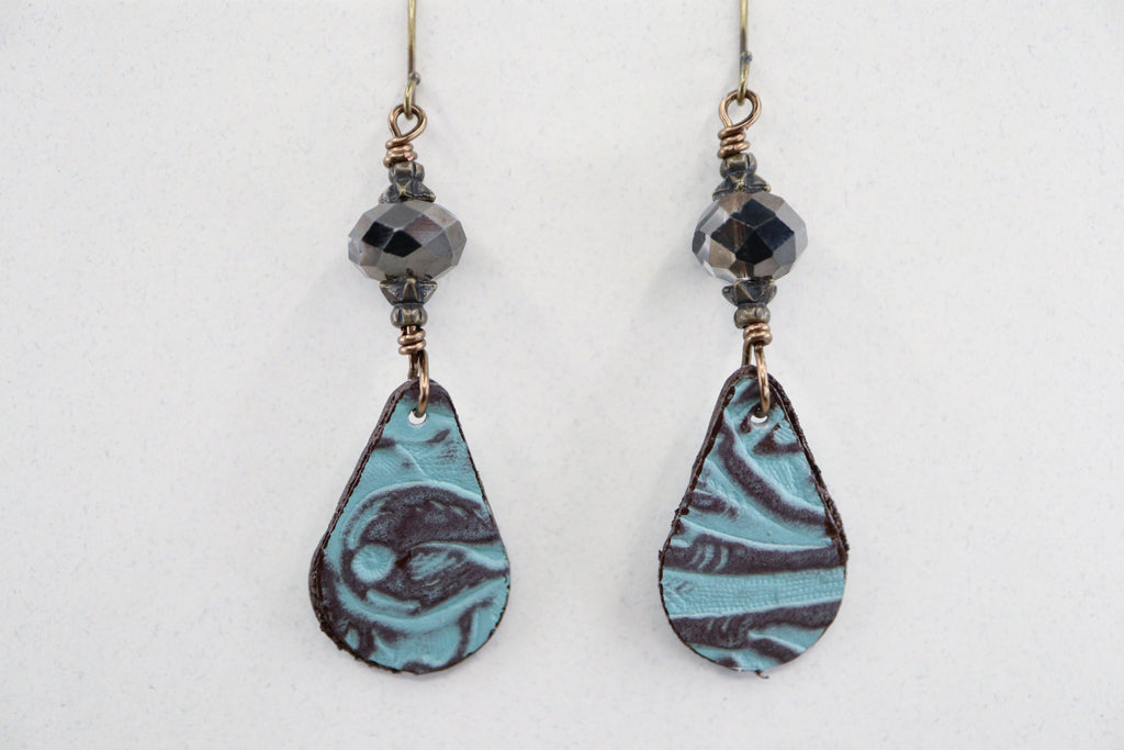 Turquoise & Brown Leather & Crystal Earrings
