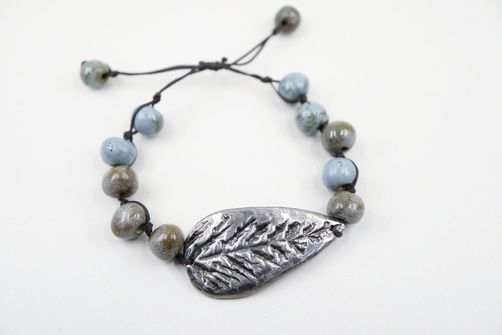 Cast Pewter Leaf Bracelet
