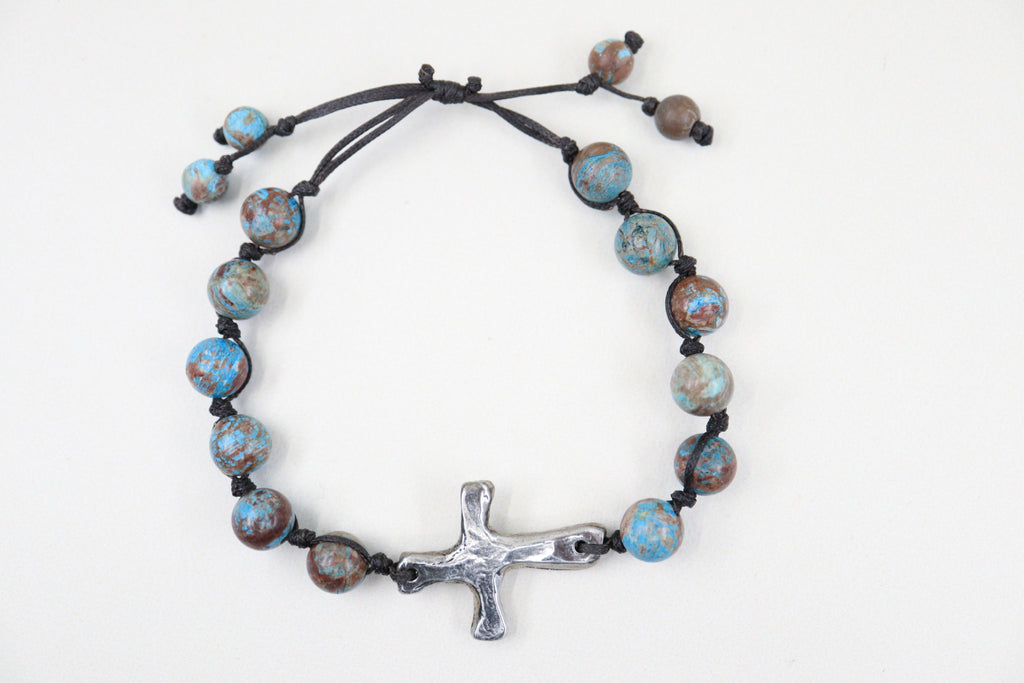 Cast Pewter Cross Bracelet - Rainforest Jasper