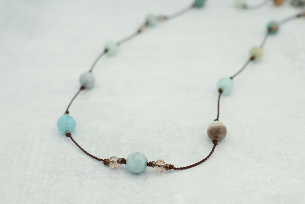 Hand Knotted Amazonite & Crystal Necklace
