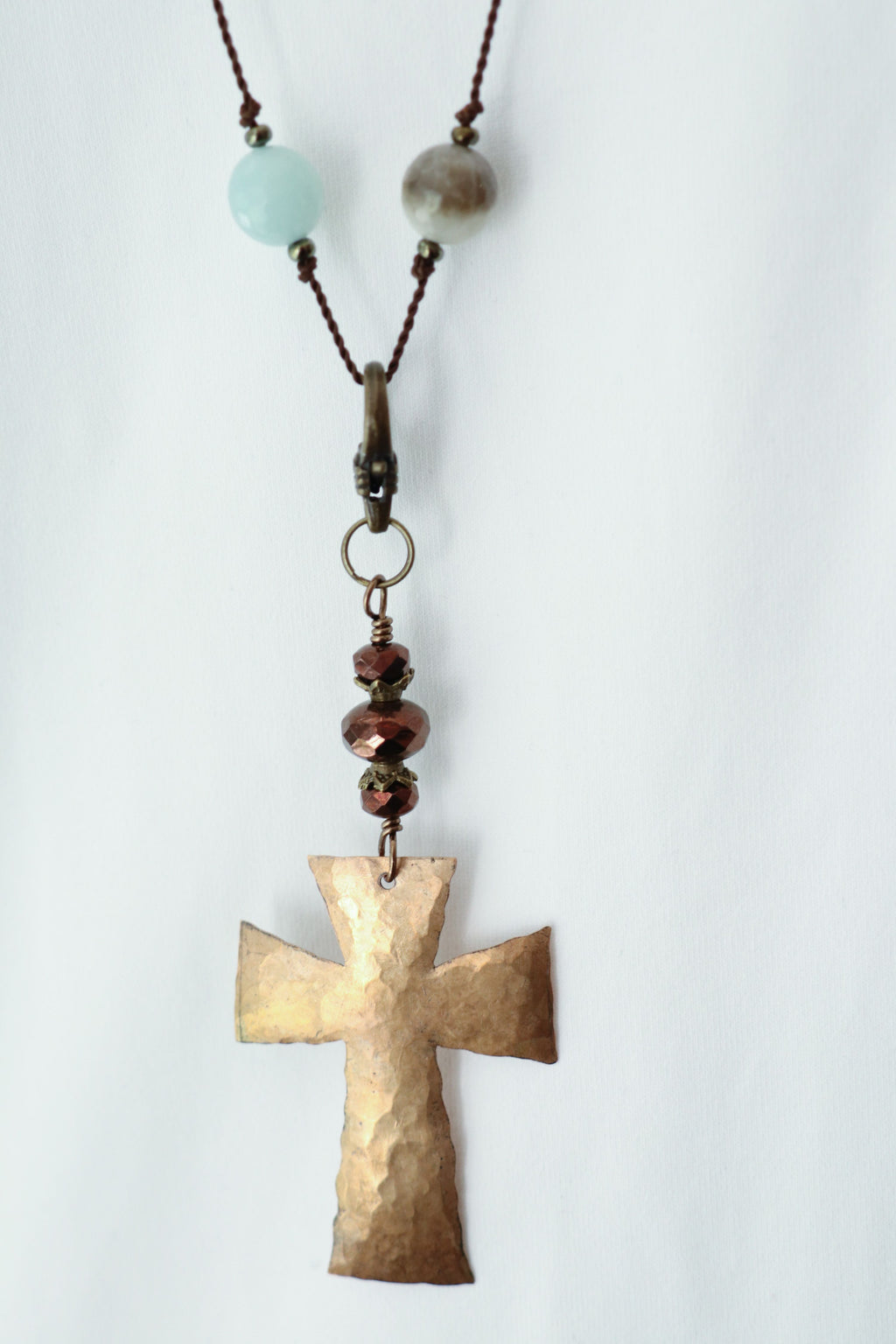 Striking Handcut Bronze Cross Pendant