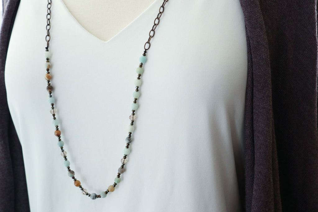 Amazonite & Crystal Necklace w/ Bronze Chain