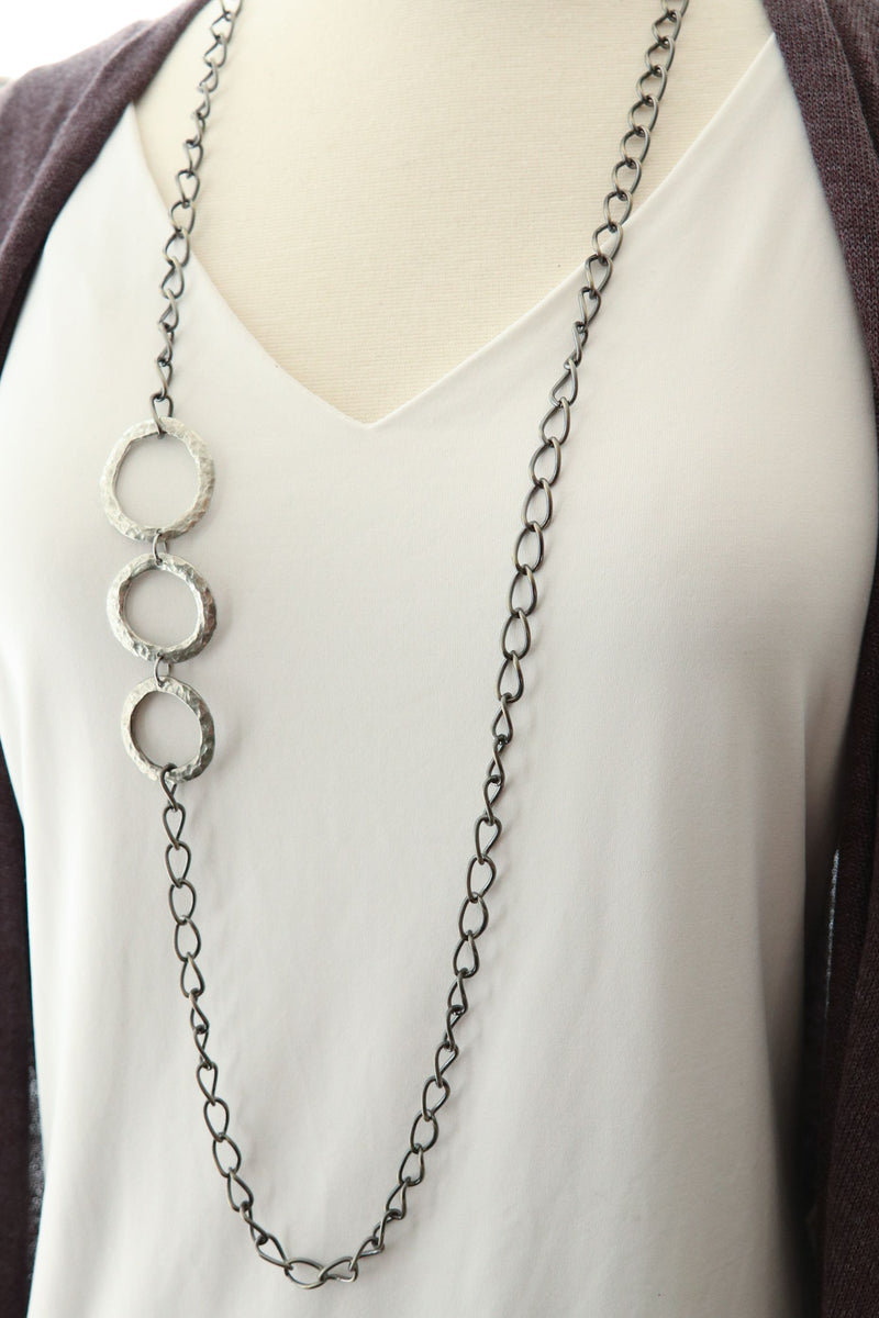 Cast Pewter Rings In Bronze Chain Necklace