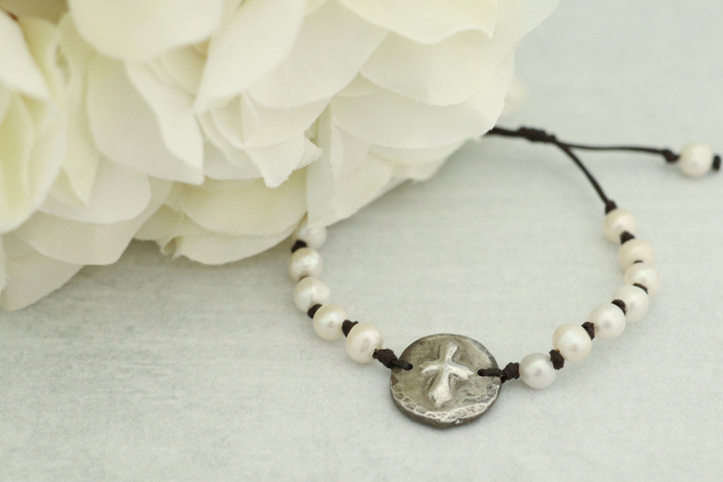 Rustic Cast Pewter Cross w/ Freshwater Pearls